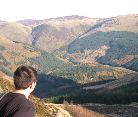 Looking out across Glen Clova, with forestry and hills