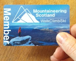 Image of Mountaineering Scotland membership card