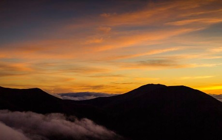 Beinn a'Ghlo silhouetted just before sunrise